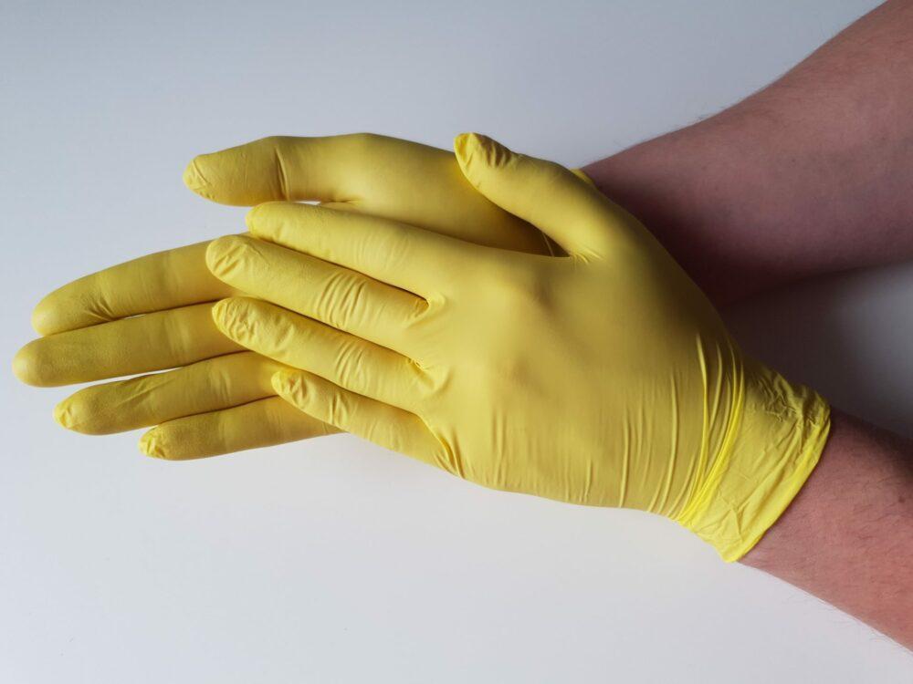 Rękawiczki nitrylowe żółte.