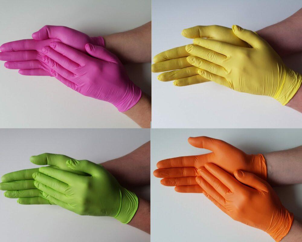 Rękawiczki nitrylowe Tutti Frutti mix kolorów.