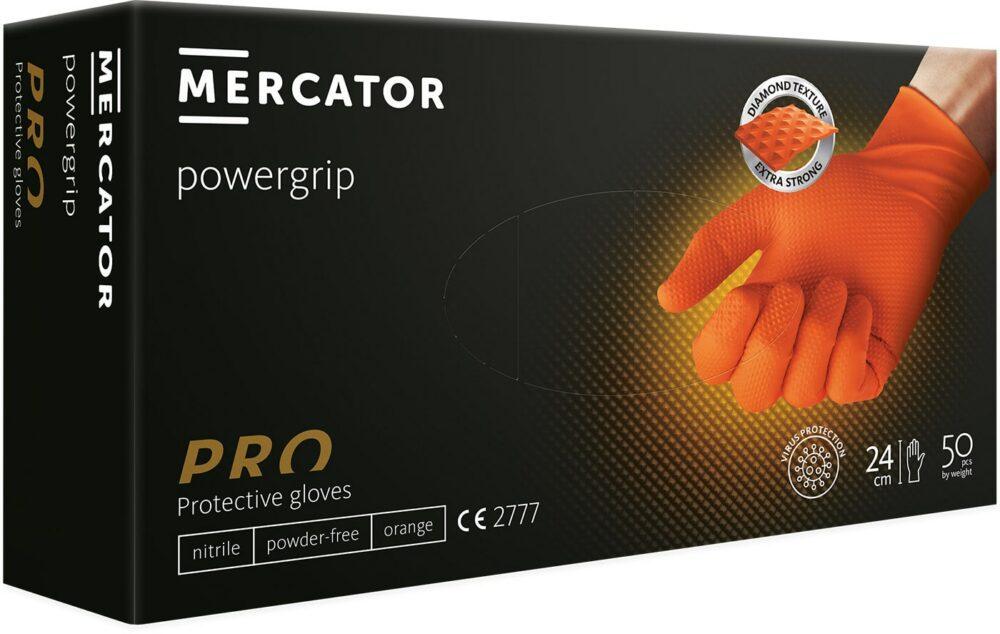 Rękawiczki nitrylowe powergrip pomarańczowe.